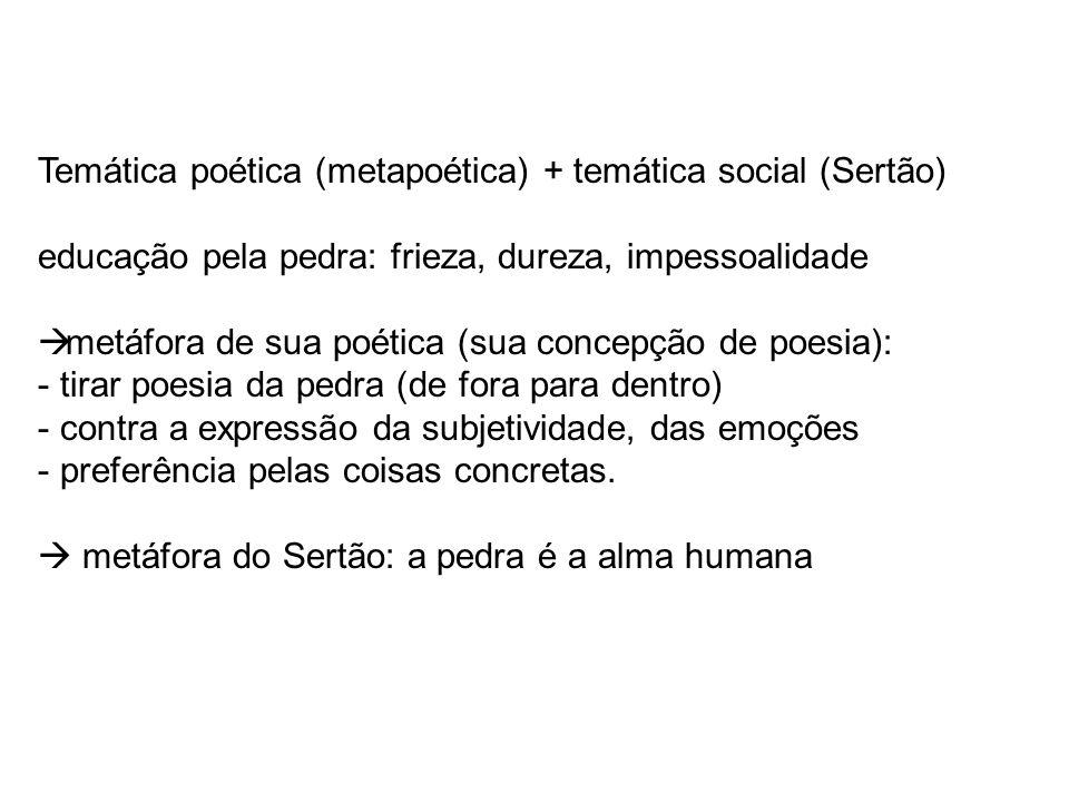 Temática poética (metapoética) + temática social (Sertão) educação pela pedra: frieza, dureza, impessoalidade metáfora de sua poética (sua concepção d