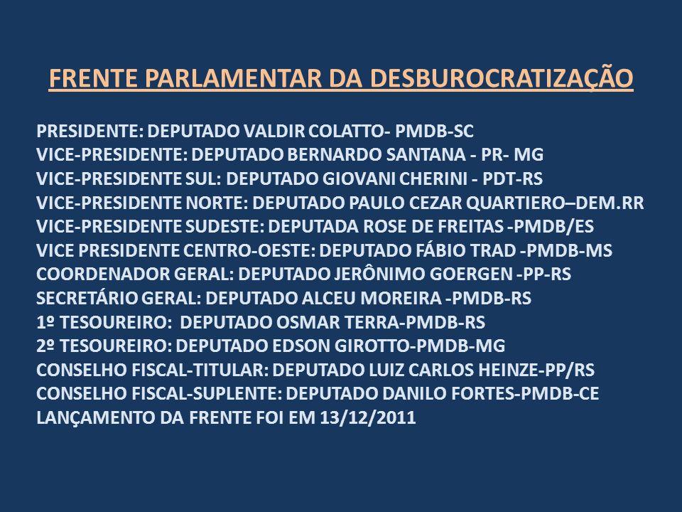 FRENTE PARLAMENTAR DA DESBUROCRATIZAÇÃO PRESIDENTE: DEPUTADO VALDIR COLATTO- PMDB-SC VICE-PRESIDENTE: DEPUTADO BERNARDO SANTANA - PR- MG VICE-PRESIDENTE SUL: DEPUTADO GIOVANI CHERINI - PDT-RS VICE-PRESIDENTE NORTE: DEPUTADO PAULO CEZAR QUARTIERO–DEM.RR VICE-PRESIDENTE SUDESTE: DEPUTADA ROSE DE FREITAS -PMDB/ES VICE PRESIDENTE CENTRO-OESTE: DEPUTADO FÁBIO TRAD -PMDB-MS COORDENADOR GERAL: DEPUTADO JERÔNIMO GOERGEN -PP-RS SECRETÁRIO GERAL: DEPUTADO ALCEU MOREIRA -PMDB-RS 1º TESOUREIRO: DEPUTADO OSMAR TERRA-PMDB-RS 2º TESOUREIRO: DEPUTADO EDSON GIROTTO-PMDB-MG CONSELHO FISCAL-TITULAR: DEPUTADO LUIZ CARLOS HEINZE-PP/RS CONSELHO FISCAL-SUPLENTE: DEPUTADO DANILO FORTES-PMDB-CE LANÇAMENTO DA FRENTE FOI EM 13/12/2011