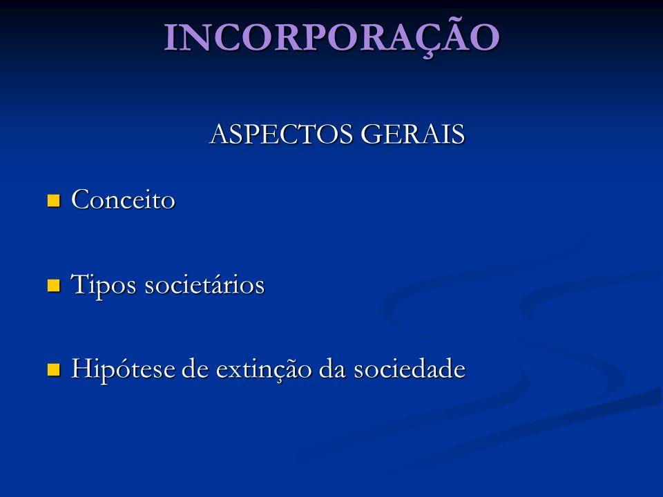 INCORPORAÇÃO ASPECTOS GERAIS Conceito Conceito Tipos societários Tipos societários Hipótese de extinção da sociedade Hipótese de extinção da sociedade
