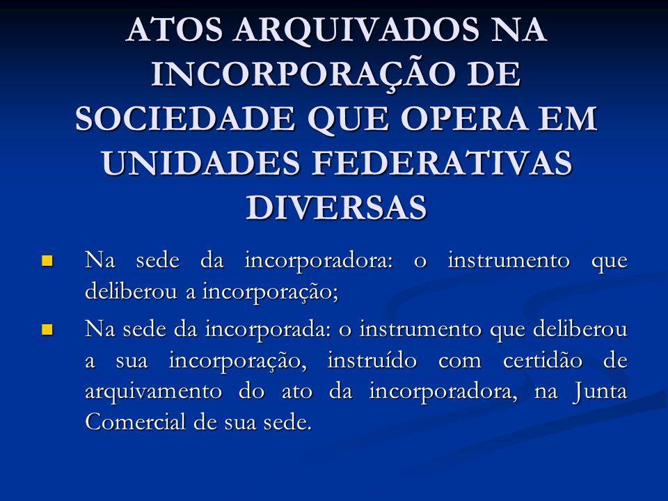 ATOS ARQUIVADOS NA INCORPORAÇÃO DE SOCIEDADE QUE OPERA EM UNIDADES FEDERATIVAS DIVERSAS Na sede da incorporadora: o instrumento que deliberou a incorp