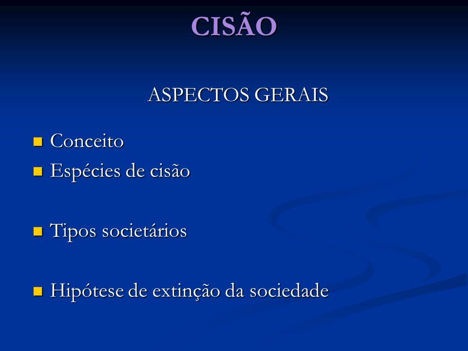 CISÃO ASPECTOS GERAIS Conceito Conceito Espécies de cisão Espécies de cisão Tipos societários Tipos societários Hipótese de extinção da sociedade Hipó