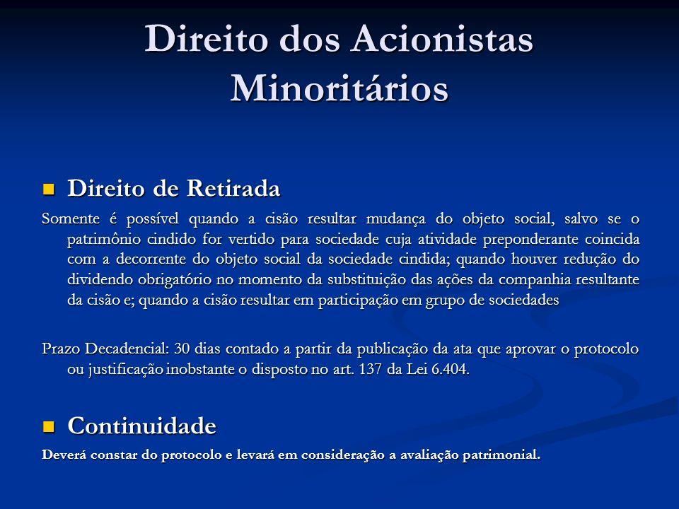 Direito dos Acionistas Minoritários Direito de Retirada Direito de Retirada Somente é possível quando a cisão resultar mudança do objeto social, salvo