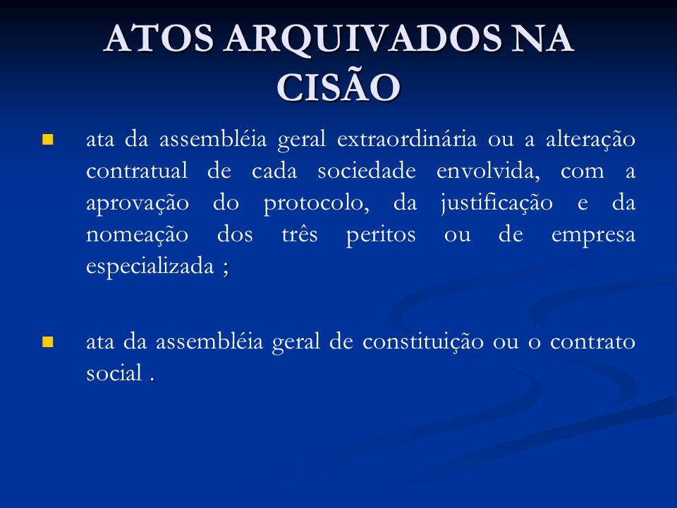 ATOS ARQUIVADOS NA CISÃO ; ata da assembléia geral extraordinária ou a alteração contratual de cada sociedade envolvida, com a aprovação do protocolo,