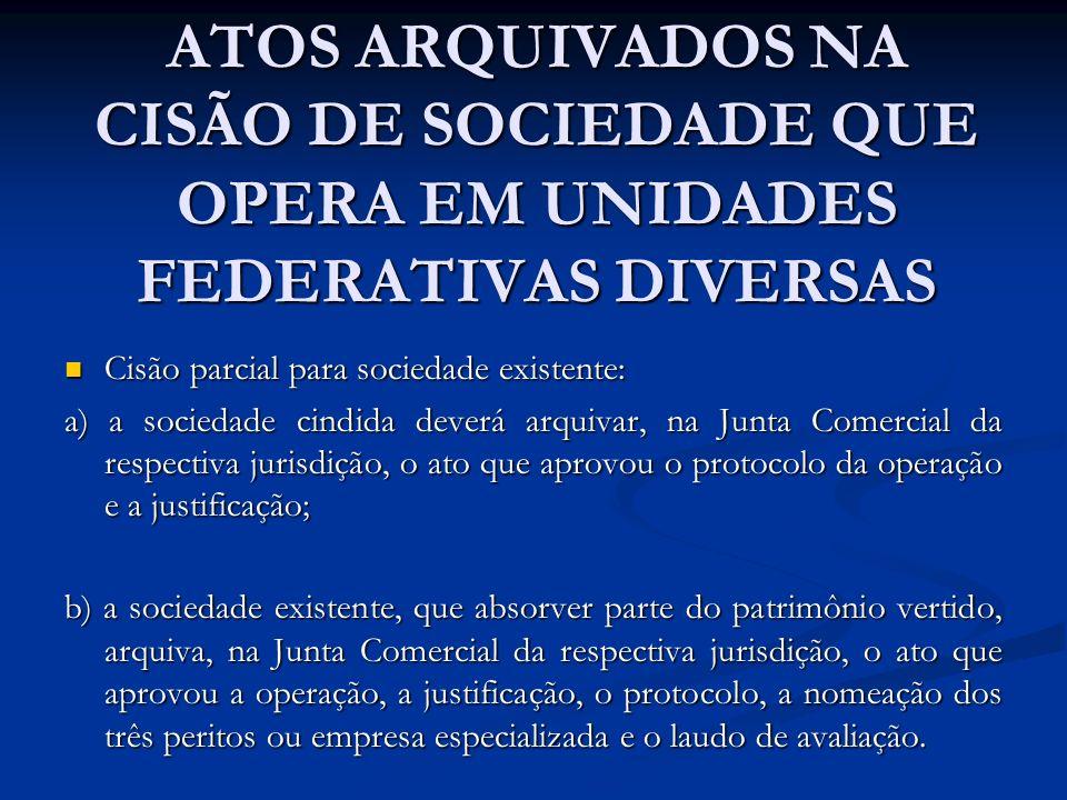 ATOS ARQUIVADOS NA CISÃO DE SOCIEDADE QUE OPERA EM UNIDADES FEDERATIVAS DIVERSAS Cisão parcial para sociedade existente: Cisão parcial para sociedade