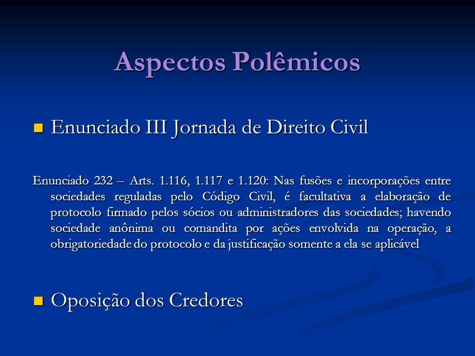 Aspectos Polêmicos Enunciado III Jornada de Direito Civil Enunciado III Jornada de Direito Civil Enunciado 232 – Arts. 1.116, 1.117 e 1.120: Nas fusõe