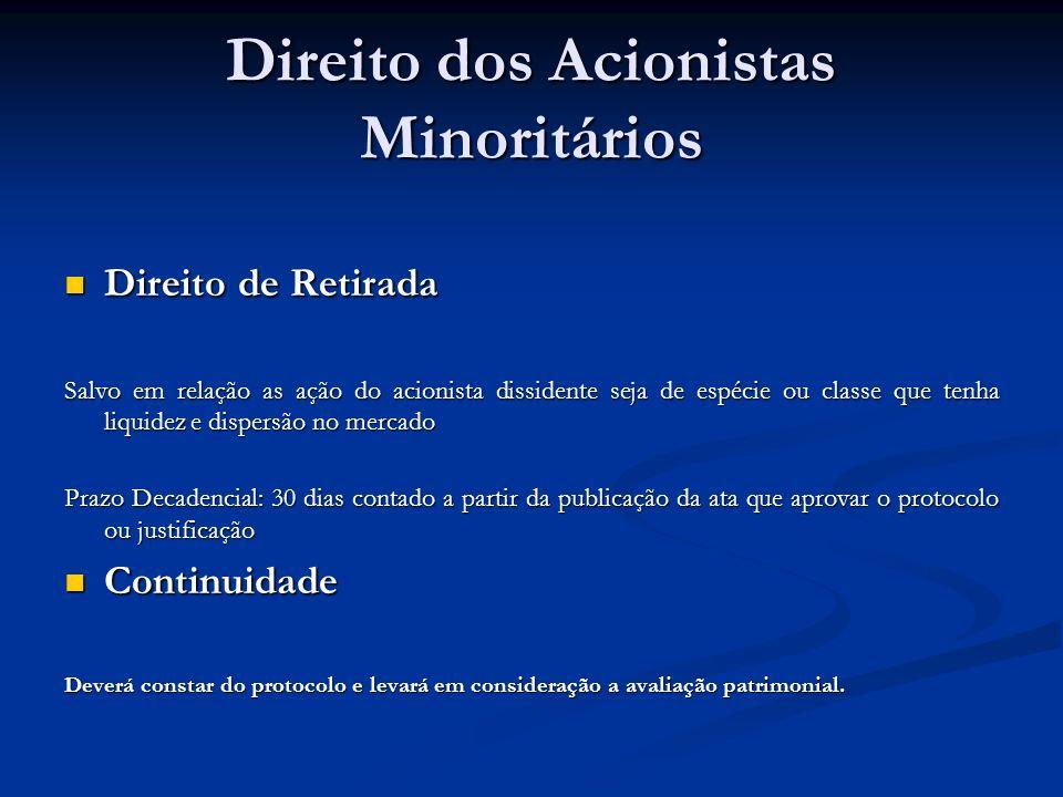Direito dos Acionistas Minoritários Direito de Retirada Direito de Retirada Salvo em relação as ação do acionista dissidente seja de espécie ou classe