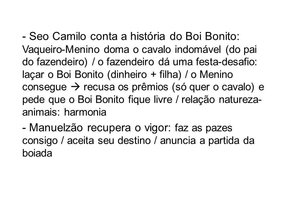 - Seo Camilo conta a história do Boi Bonito: Vaqueiro-Menino doma o cavalo indomável (do pai do fazendeiro) / o fazendeiro dá uma festa-desafio: laçar
