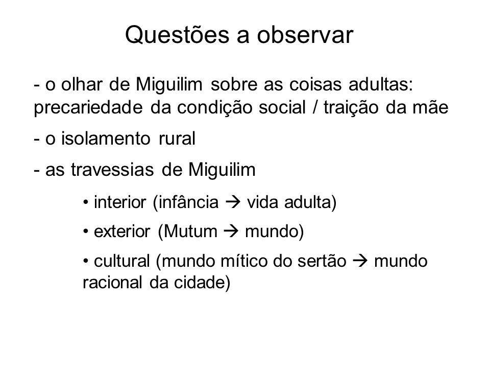 - o olhar de Miguilim sobre as coisas adultas: precariedade da condição social / traição da mãe - o isolamento rural - as travessias de Miguilim Quest