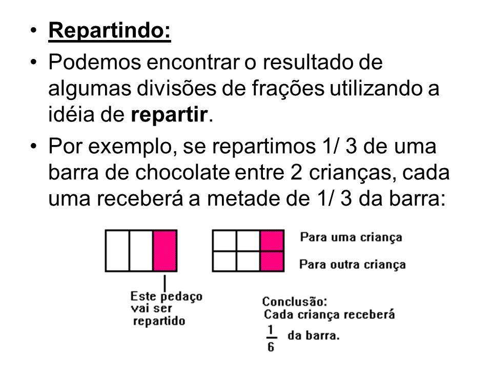 Repartindo: Podemos encontrar o resultado de algumas divisões de frações utilizando a idéia de repartir. Por exemplo, se repartimos 1/ 3 de uma barra
