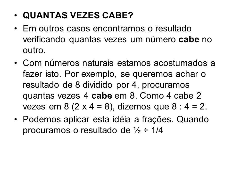 QUANTAS VEZES CABE? Em outros casos encontramos o resultado verificando quantas vezes um número cabe no outro. Com números naturais estamos acostumado