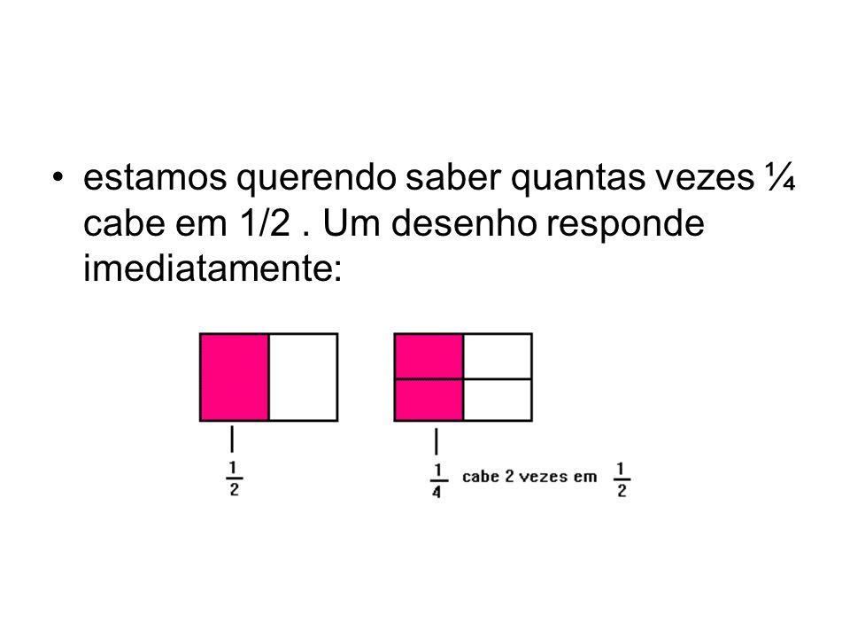 estamos querendo saber quantas vezes ¼ cabe em 1/2. Um desenho responde imediatamente: