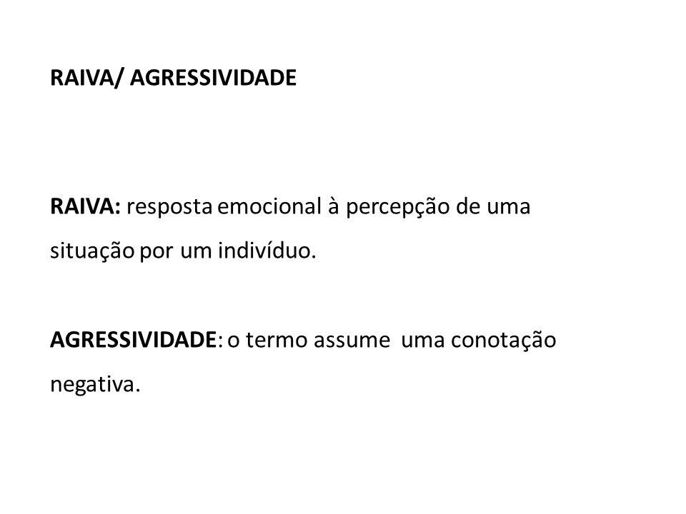 RAIVA/ AGRESSIVIDADE RAIVA: resposta emocional à percepção de uma situação por um indivíduo.