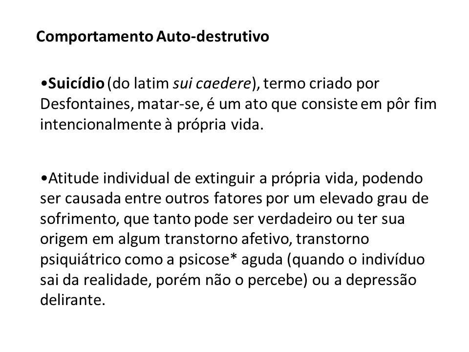 Suicídio (do latim sui caedere), termo criado por Desfontaines, matar-se, é um ato que consiste em pôr fim intencionalmente à própria vida.