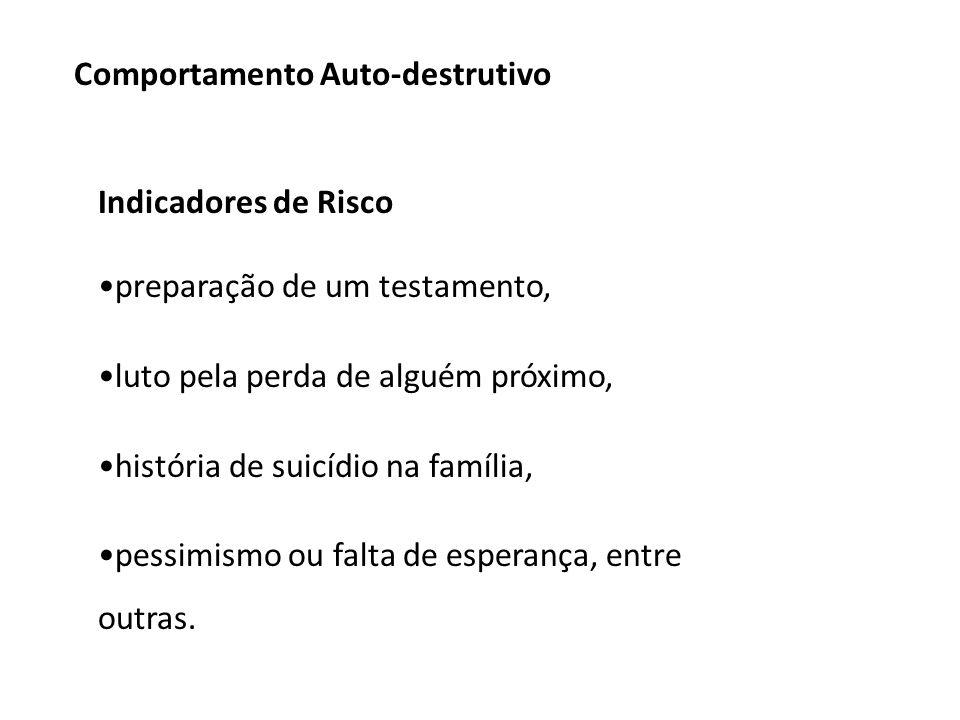 Indicadores de Risco preparação de um testamento, luto pela perda de alguém próximo, história de suicídio na família, pessimismo ou falta de esperança, entre outras.