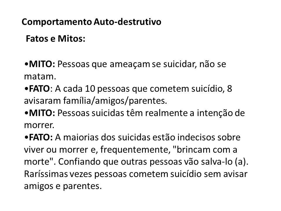 MITO: Pessoas que ameaçam se suicidar, não se matam.