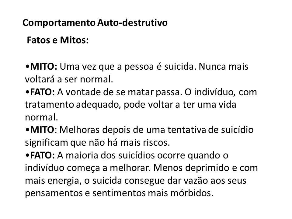 MITO: Uma vez que a pessoa é suicida.Nunca mais voltará a ser normal.