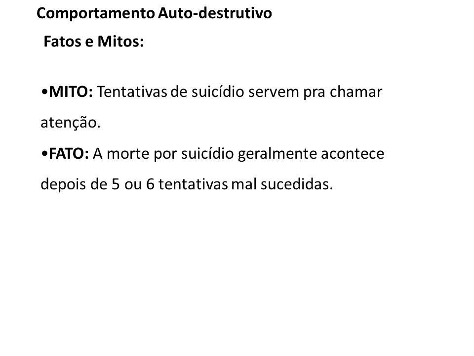MITO: Tentativas de suicídio servem pra chamar atenção.