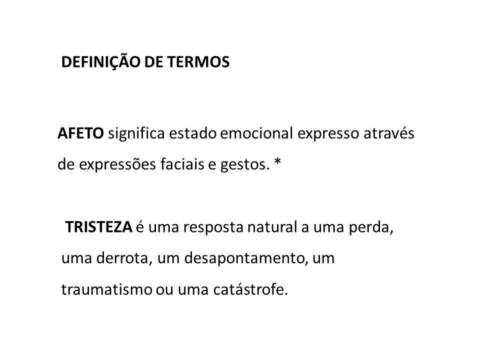 AFETO significa estado emocional expresso através de expressões faciais e gestos.