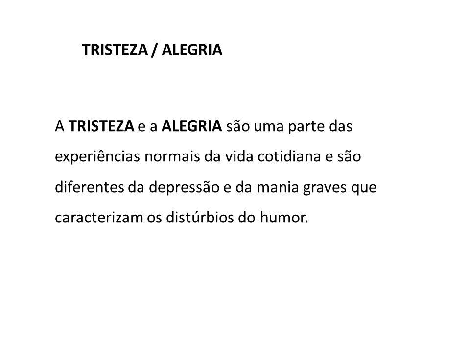 A TRISTEZA e a ALEGRIA são uma parte das experiências normais da vida cotidiana e são diferentes da depressão e da mania graves que caracterizam os distúrbios do humor.