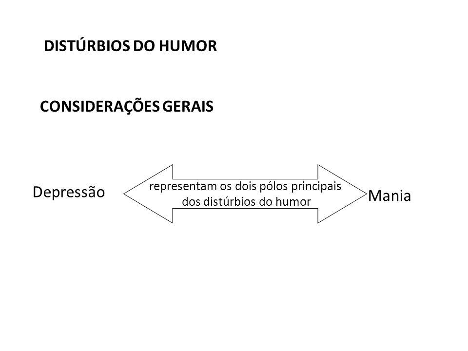 DISTÚRBIOS DO HUMOR CONSIDERAÇÕES GERAIS Depressão Mania representam os dois pólos principais dos distúrbios do humor