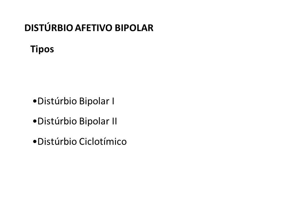 Tipos Distúrbio Bipolar I Distúrbio Bipolar II Distúrbio Ciclotímico DISTÚRBIO AFETIVO BIPOLAR