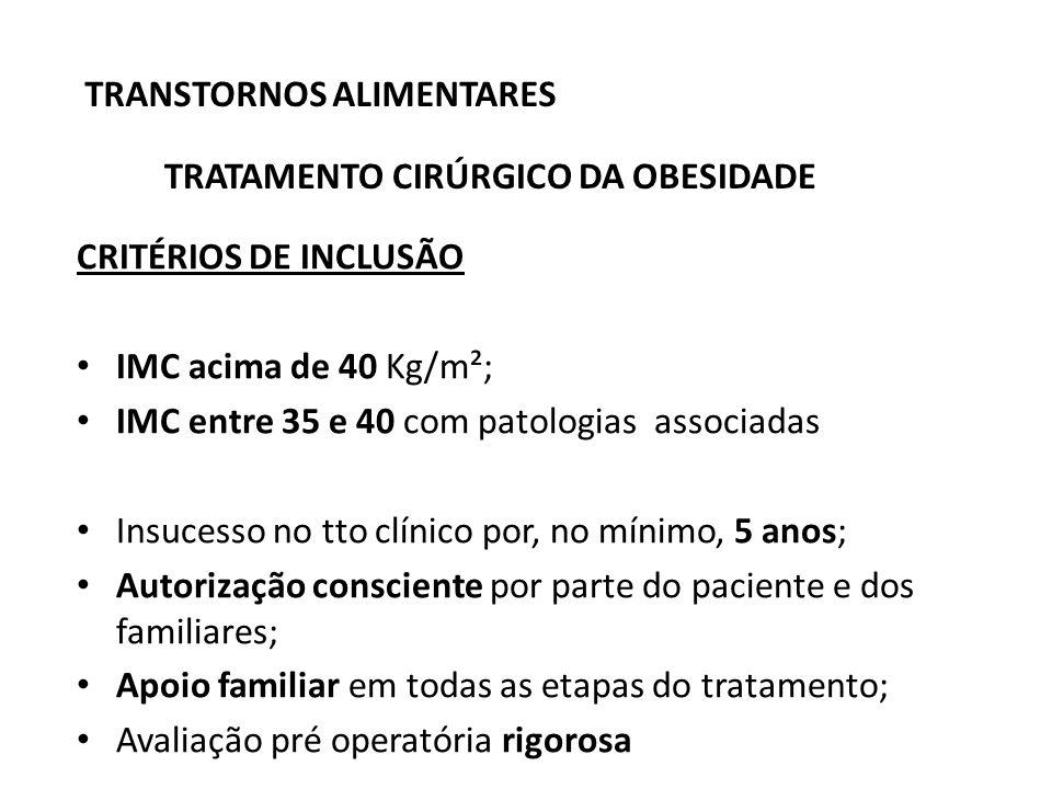 TRANSTORNOS ALIMENTARES TRATAMENTO CIRÚRGICO DA OBESIDADE CRITÉRIOS DE INCLUSÃO IMC acima de 40 Kg/m²; IMC entre 35 e 40 com patologias associadas Ins
