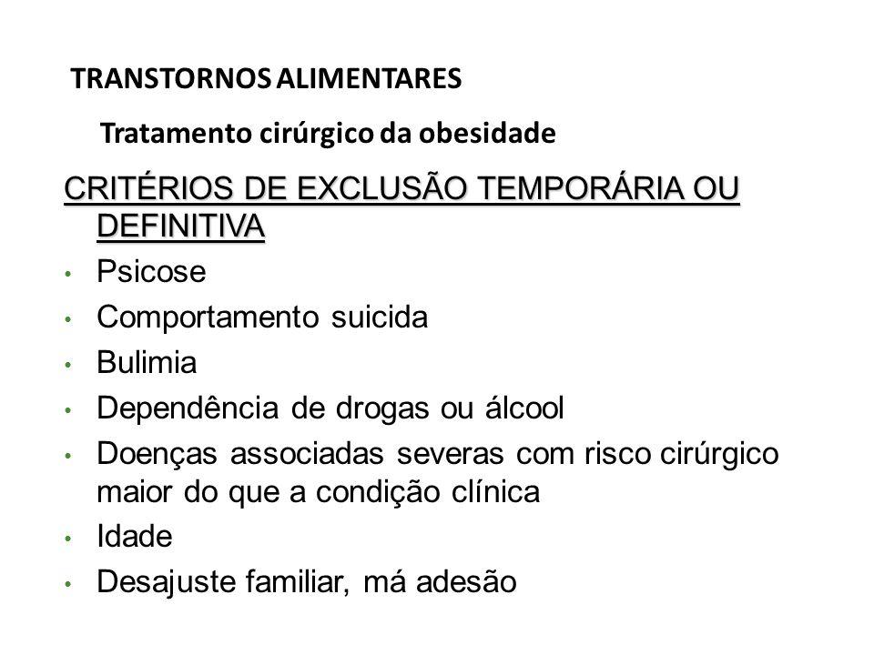 TRANSTORNOS ALIMENTARES Tratamento cirúrgico da obesidade CRITÉRIOS DE EXCLUSÃO TEMPORÁRIA OU DEFINITIVA Psicose Comportamento suicida Bulimia Dependê