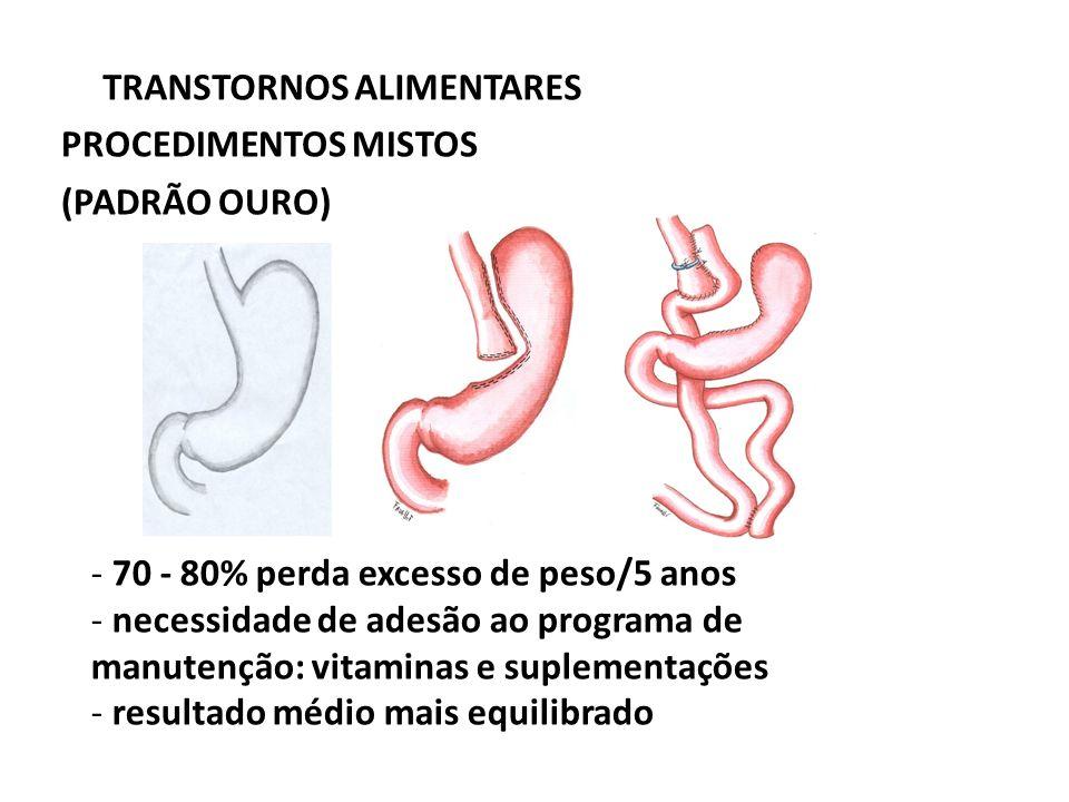 TRANSTORNOS ALIMENTARES PROCEDIMENTOS MISTOS (PADRÃO OURO) - 70 - 80% perda excesso de peso/5 anos - necessidade de adesão ao programa de manutenção: