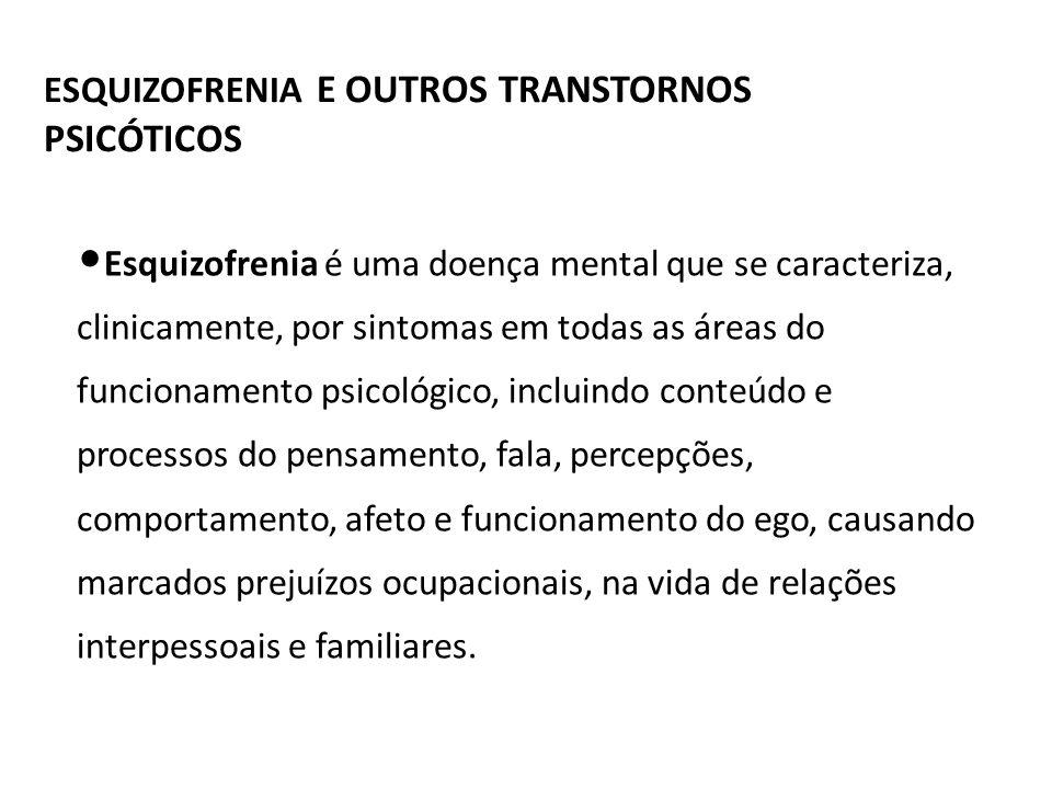 ESQUIZOFRENIA E OUTROS TRANSTORNOS PSICÓTICOS Esquizofrenia é uma doença mental que se caracteriza, clinicamente, por sintomas em todas as áreas do fu