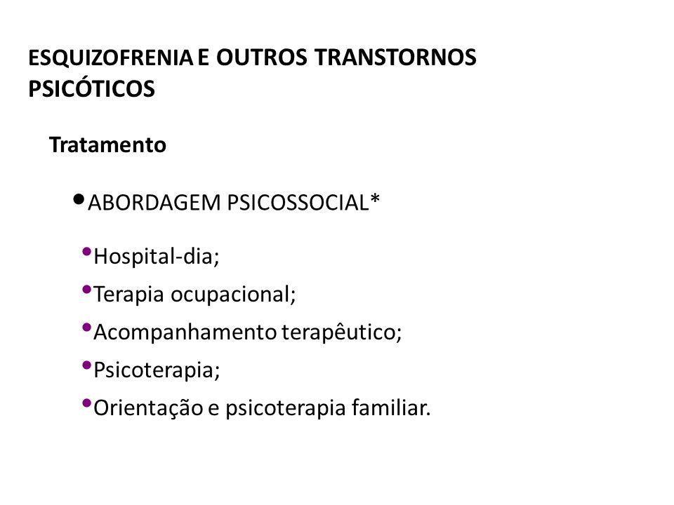 ESQUIZOFRENIA E OUTROS TRANSTORNOS PSICÓTICOS ABORDAGEM PSICOSSOCIAL* Hospital-dia; Terapia ocupacional; Acompanhamento terapêutico; Psicoterapia; Ori