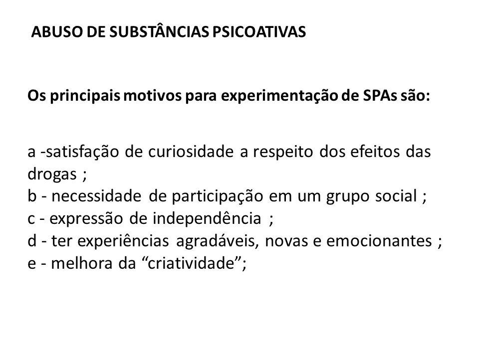 Os principais motivos para experimentação de SPAs são: a -satisfação de curiosidade a respeito dos efeitos das drogas ; b - necessidade de participaçã