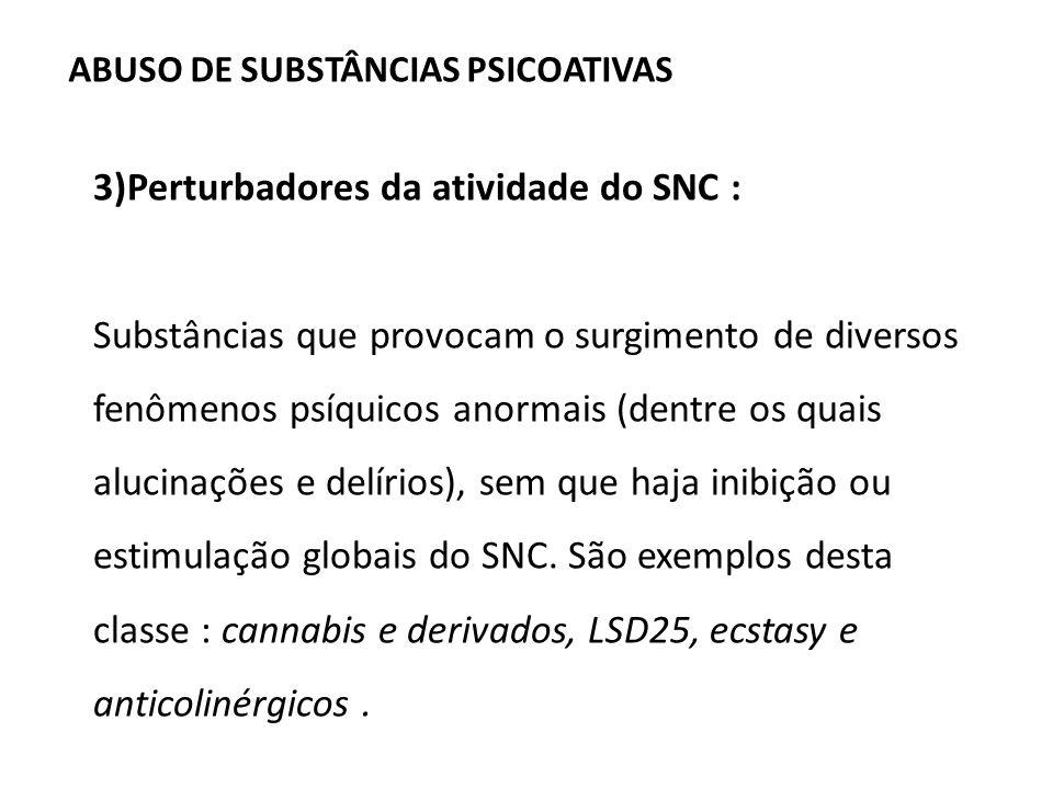 ABUSO DE SUBSTÂNCIAS PSICOATIVAS 3)Perturbadores da atividade do SNC : Substâncias que provocam o surgimento de diversos fenômenos psíquicos anormais