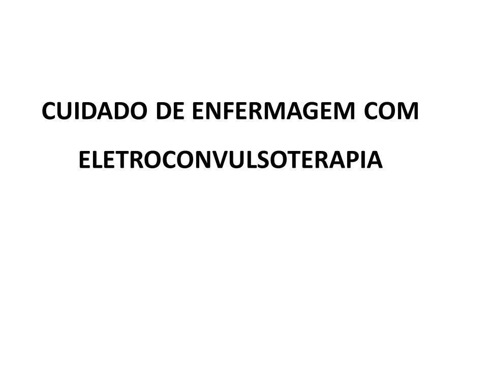 A eletroconvulsoterapia (ECT), também conhecida por eletrochoques, é um tratamento psiquiátrico no qual são provocadas alterações na atividade elétrica do cérebro induzidas por meio de passagem de corrente elétrica, sob condição de anestesia geral.