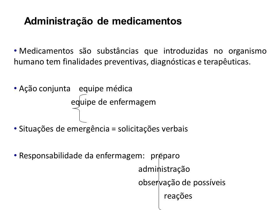 Administração de medicamentos Medicamentos são substâncias que introduzidas no organismo humano tem finalidades preventivas, diagnósticas e terapêutic
