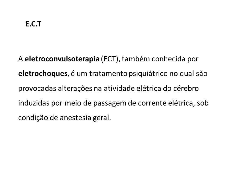 A eletroconvulsoterapia (ECT), também conhecida por eletrochoques, é um tratamento psiquiátrico no qual são provocadas alterações na atividade elétric