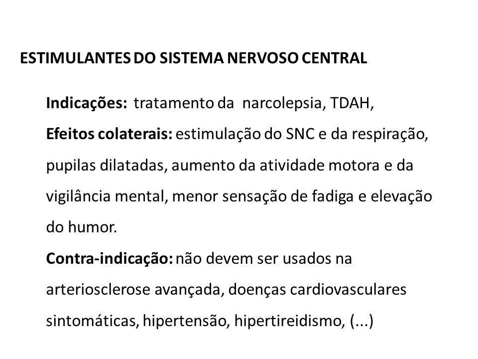 ESTIMULANTES DO SISTEMA NERVOSO CENTRAL Indicações: tratamento da narcolepsia, TDAH, Efeitos colaterais: estimulação do SNC e da respiração, pupilas d