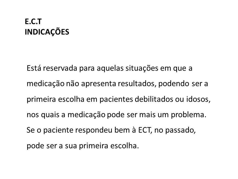 Também se utiliza a ECT na mania, esquizofrenia e na doença de Parkinson grave.
