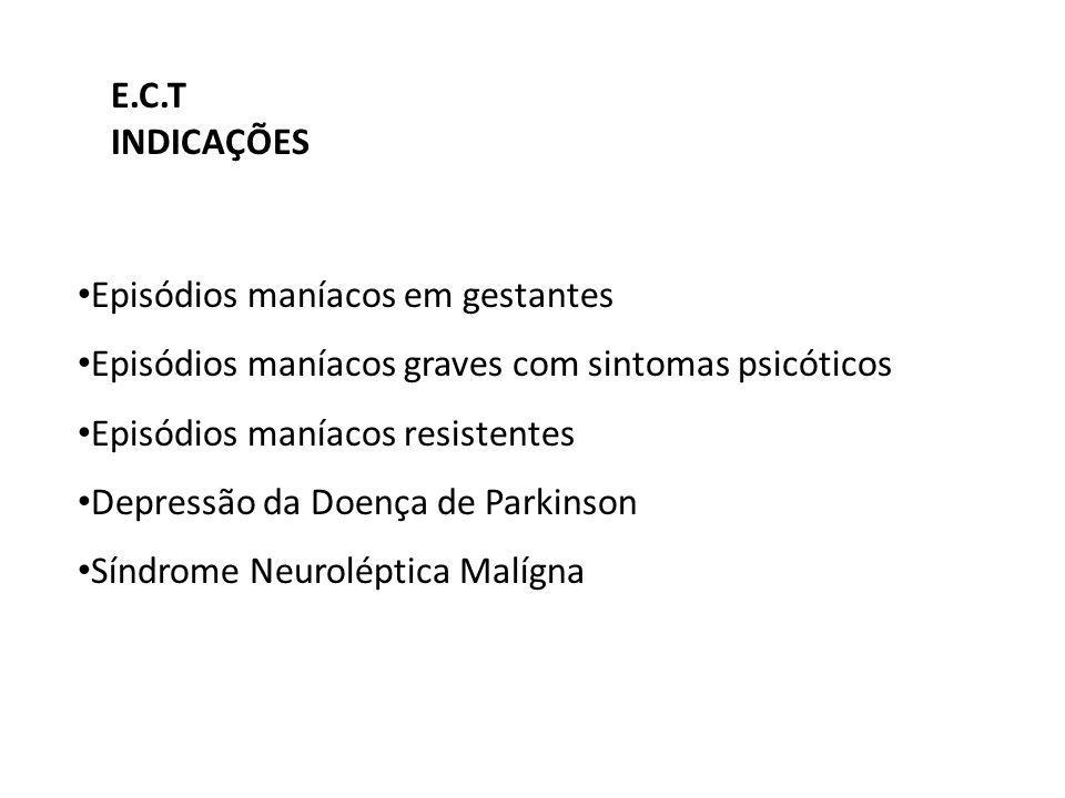 Episódios maníacos em gestantes Episódios maníacos graves com sintomas psicóticos Episódios maníacos resistentes Depressão da Doença de Parkinson Sínd