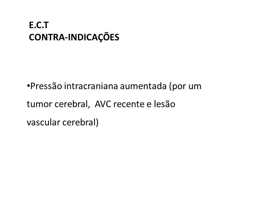 Pressão intracraniana aumentada (por um tumor cerebral, AVC recente e lesão vascular cerebral) E.C.T CONTRA-INDICAÇÕES