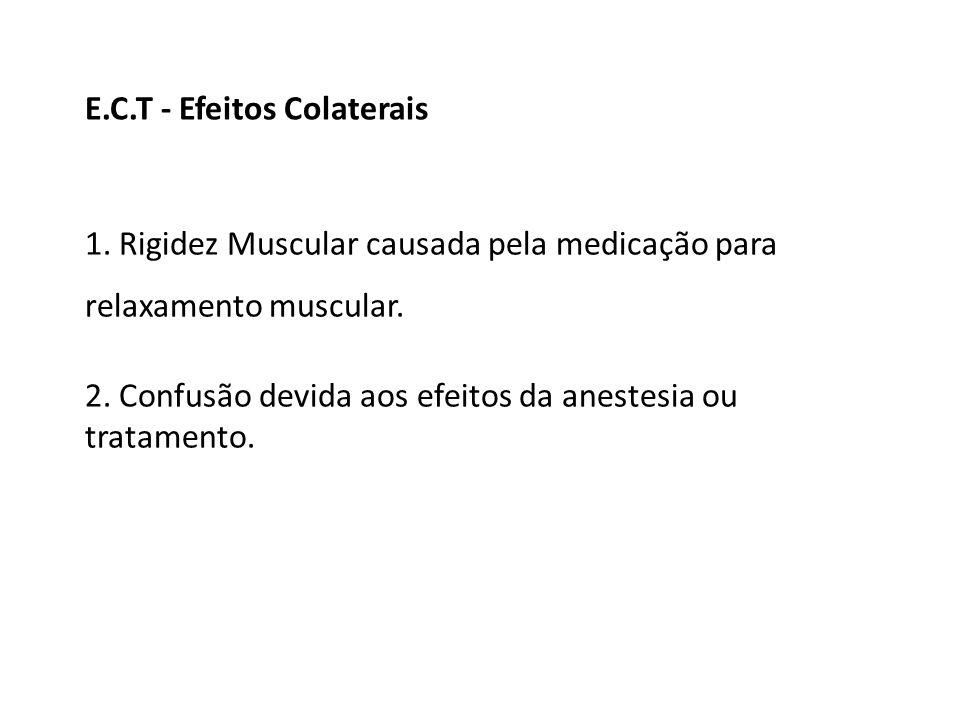 1. Rigidez Muscular causada pela medicação para relaxamento muscular. 2. Confusão devida aos efeitos da anestesia ou tratamento. E.C.T - Efeitos Colat