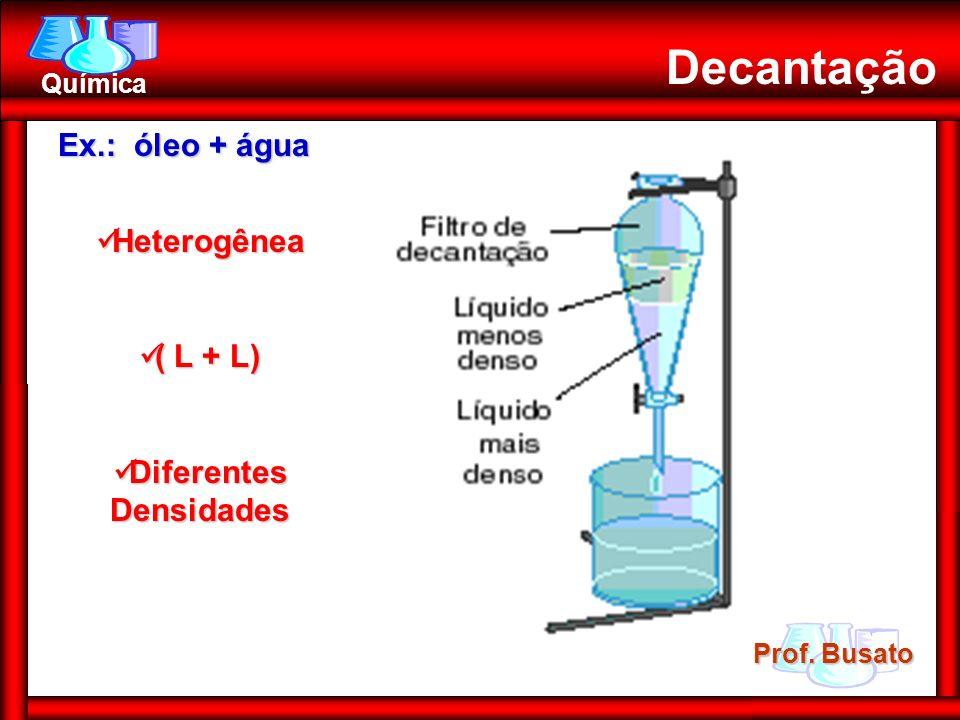 Prof. Busato Química Decantação Ex.: óleo + água Heterogênea Heterogênea ( L + L) ( L + L) Diferentes Densidades Diferentes Densidades
