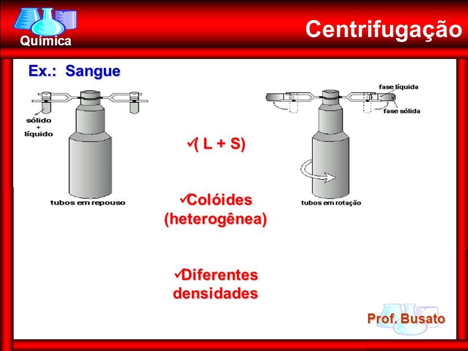 Prof. Busato Química Centrifugação Ex.: Sangue ( L + S) ( L + S) Colóides (heterogênea) Colóides (heterogênea) Diferentes densidades Diferentes densid