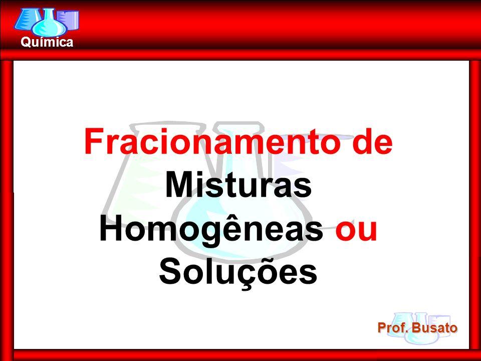 Prof. Busato Química Fracionamento de Misturas Homogêneas ou Soluções