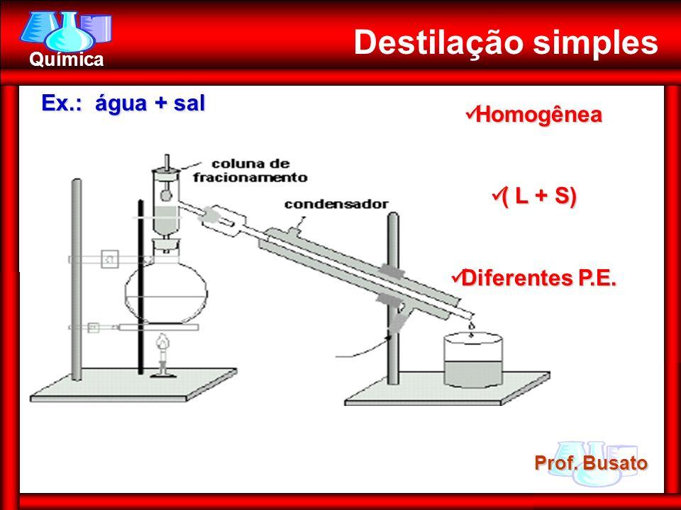 Prof. Busato Química Destilação simples Ex.: água + sal Homogênea Homogênea ( L + S) ( L + S) Diferentes P.E. Diferentes P.E.