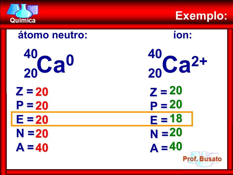 Prof. Busato Química Exemplo: átomo neutro:íon: Ca 0 20 40 Ca 2+ 20 40 Z = P = E = N = A = Z = P = E = N = A = 2020202040 2020182040