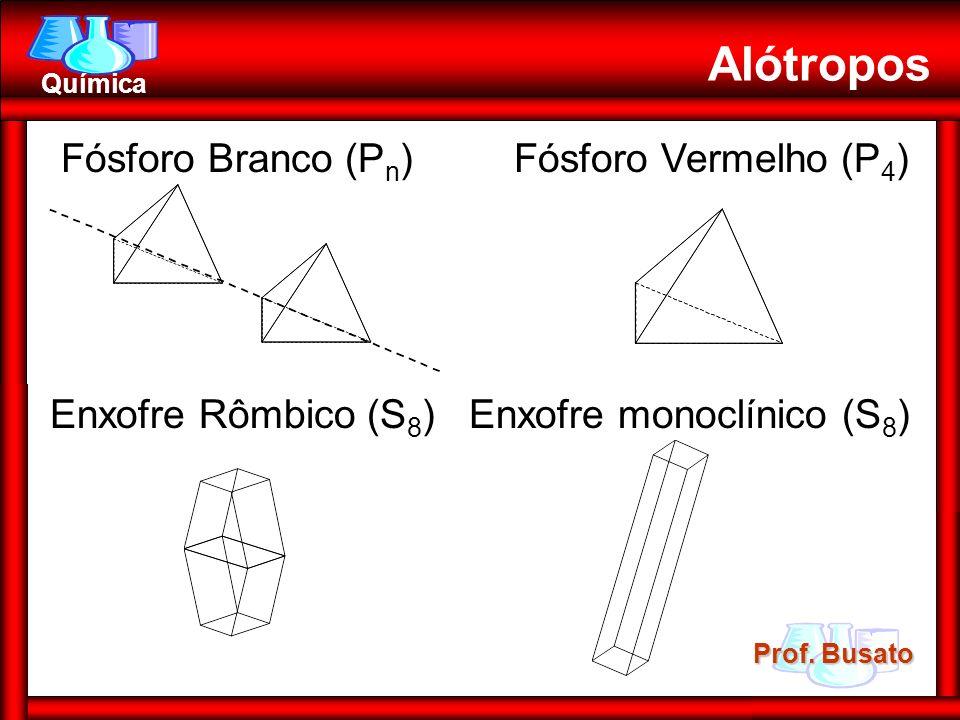Prof. Busato Química Fósforo Branco (P n ) Fósforo Vermelho (P 4 ) Enxofre Rômbico (S 8 ) Enxofre monoclínico (S 8 ) Alótropos
