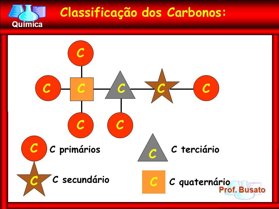 Prof. Busato Química Classificação dos Carbonos: C C C C C C C C C C primários C C secundário C C terciário C C quaternário