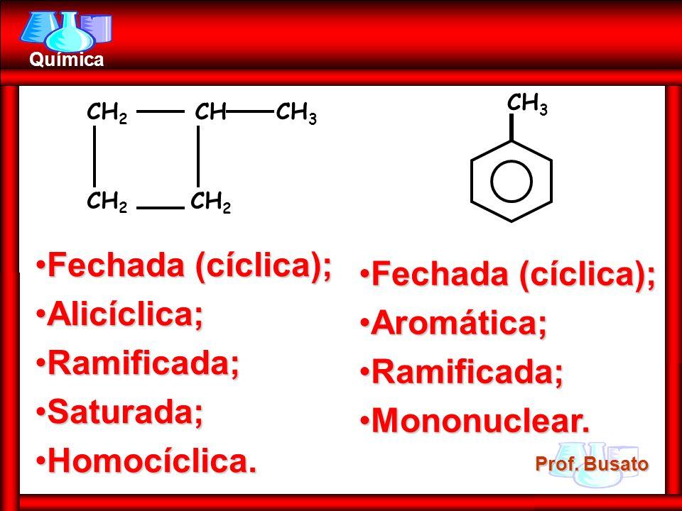 Prof. Busato Química CH 2 CH CH 3 Fechada (cíclica);Fechada (cíclica); Alicíclica;Alicíclica; Ramificada;Ramificada; Saturada;Saturada; Homocíclica.Ho