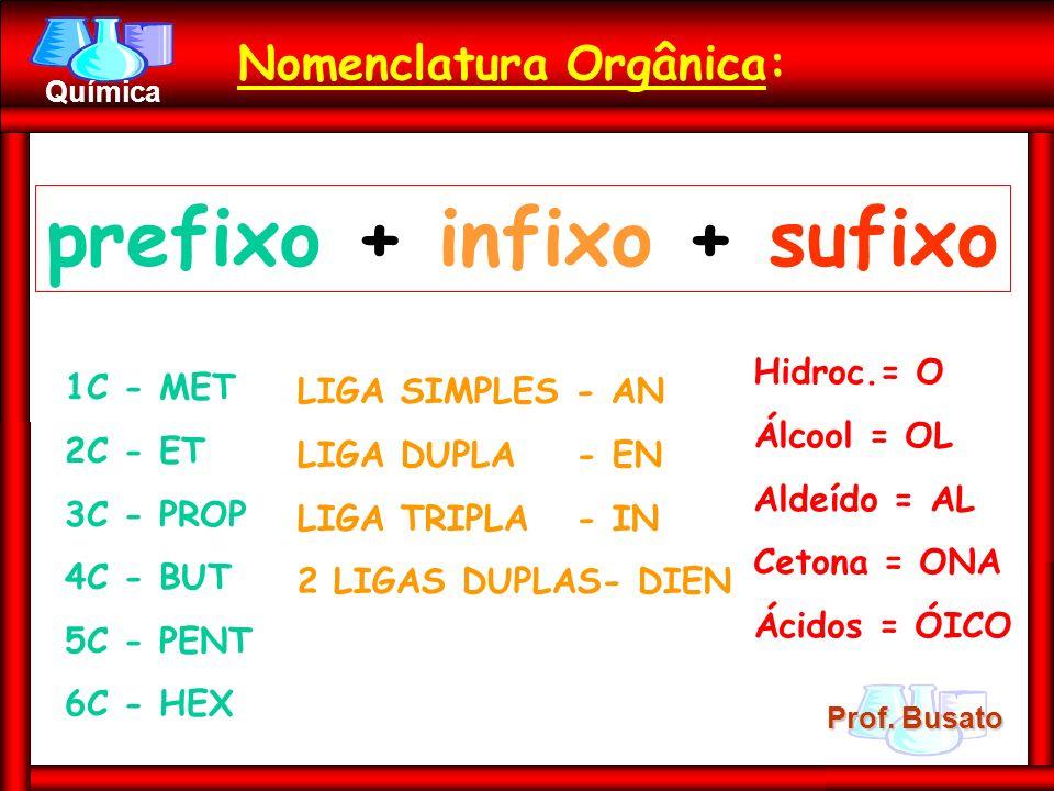 Prof. Busato Química Nomenclatura Orgânica: prefixo + infixo + sufixo 1C - MET 2C - ET 3C - PROP 4C - BUT 5C - PENT 6C - HEX LIGA SIMPLES - AN LIGA DU
