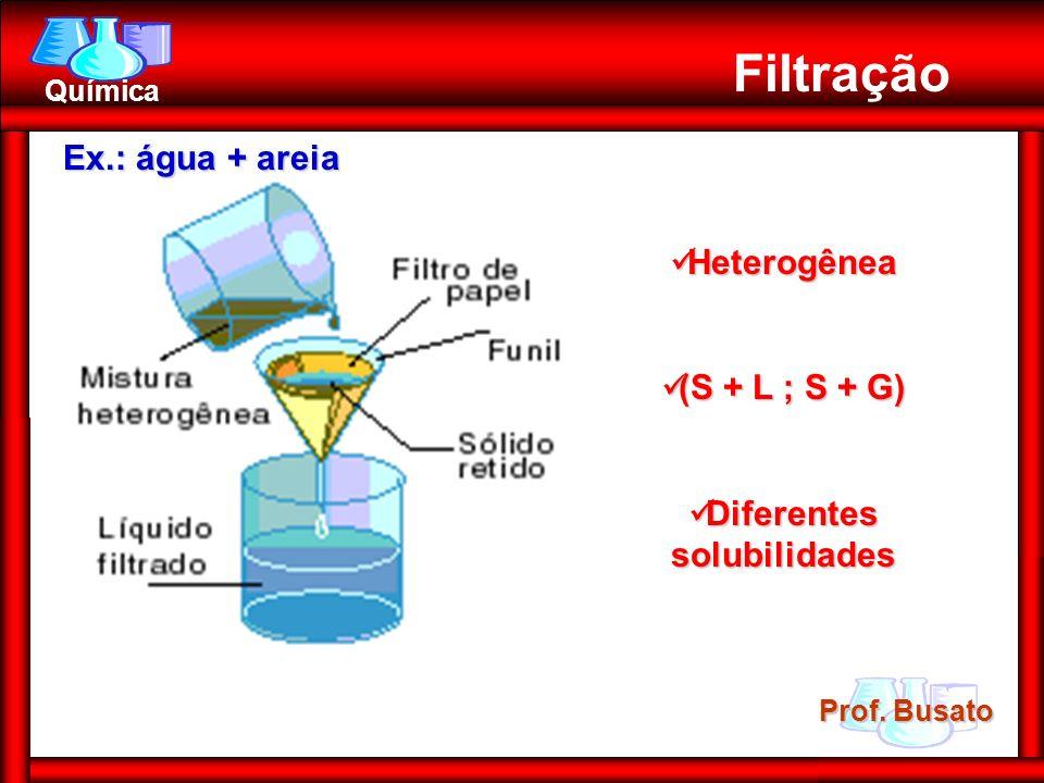 Prof. Busato Química Filtração Heterogênea Heterogênea (S + L ; S + G) (S + L ; S + G) Diferentes solubilidades Diferentes solubilidades Ex.: água + a